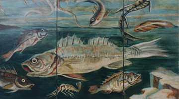 Photo of fish illustration on decorative screen - Maison Scene, Decorative Painters Paris, France